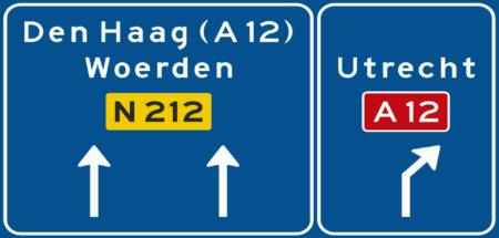 K11 Voorsorteren op niet-autosnelweg. Bord met interlokale doelen, routenummers en verwijzing naar autosnelweg